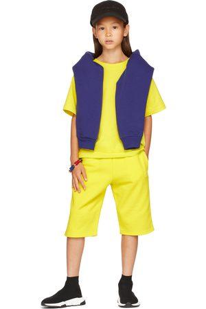 Balenciaga Kids Yellow Embroidery Sweat Shorts