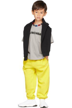 Balenciaga Kids Yellow Embroidery Jogging Lounge Pants