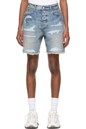 AMIRI Blue Denim Repair Shorts