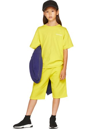 Balenciaga Kids Kids Yellow Embroidered Logo T-Shirt