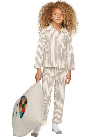 Tekla Kids Women Nightdresses & Shirts - SSENSE Exclusive Kids White & Brown Striped Sleepwear Set