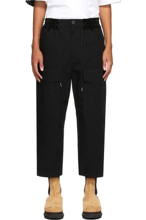 SACAI Men Cargo Pants - Black Cotton Cargo Pants
