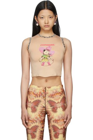 OMIGHTY Beige Print Cowgirl Baby Tank Top