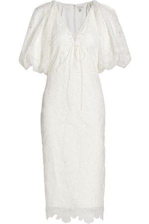ML Monique Lhuillier Organza Lace Puff-Sleeve Dress