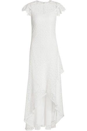 ML Monique Lhuillier High-Low Ruffle Lace Dress
