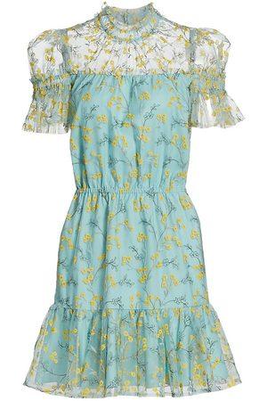 ML Monique Lhuillier Embroidered Mesh Mini Dress