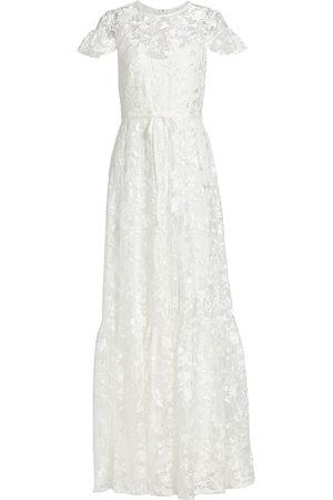 Ml Monique Lhuillier Embroidered Floral Mesh Dress