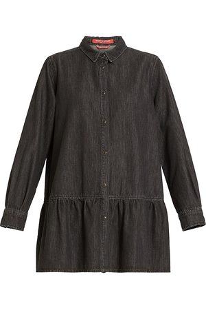 Marina Rinaldi, Plus Size Favella Flounced Denim Shirt