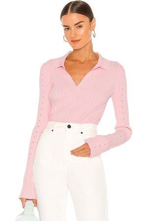 Helmut Lang Slash Polo Top in Pink.