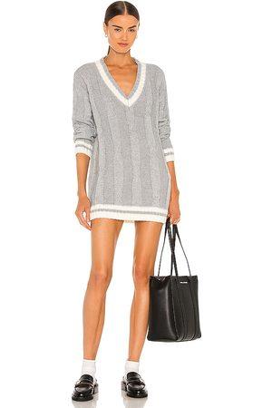 superdown Shawnie Varsity Sweater Dress in Grey.