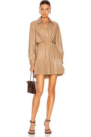 JONATHAN SIMKHAI Cindy Vegan Leather Pleated Mini Dress in Taupe