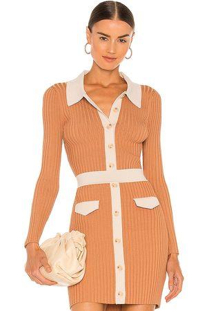 JONATHAN SIMKHAI Elsie Compact Cut Out Polo Cardigan in Tan,Peach.