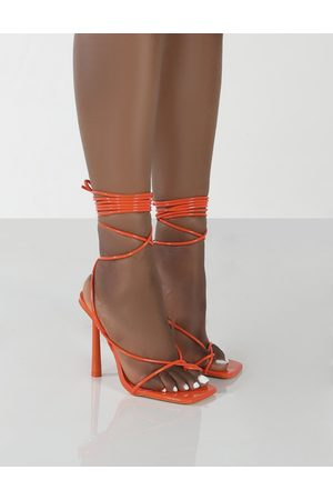 Public Desire Lacey Patent Square Toe Strappy Lace Up Heels - US 5