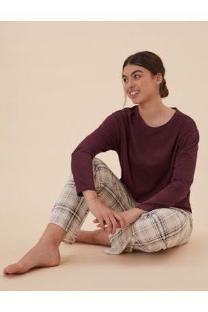 M&S Collection Cotton Checked Print Pyjama Set
