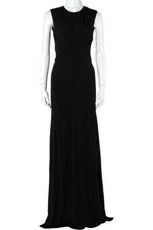 Elie Saab Jersey Pleated Detail Sleeveless Maxi Dress S