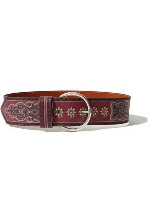 Etro Printed textured-leather belt
