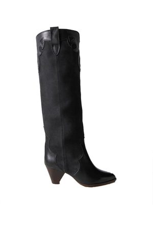 Isabel Marant Women Thigh High Boots - Litz leather-trimmed suede knee boots
