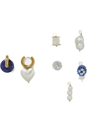 Timeless Pearly Convertible gold-plated multi-stone earrings