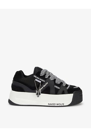 Naked Wolfe Men Platform Sneakers - Slide leather, suede and mesh platform trainers