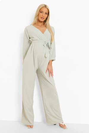 Boohoo Womens Maternity Off The Shoulder Woven Jumpsuit - - 4