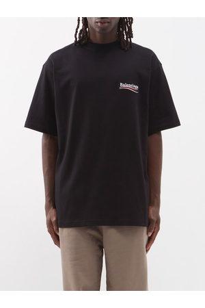 Balenciaga Logo-print Crew-neck Cotton-jersey T-shirt - Mens