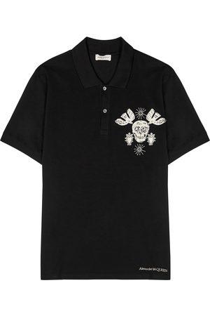 Alexander McQueen Men Polo Shirts - Embroidered cotton polo shirt