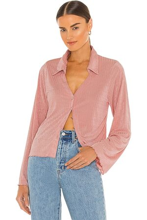 LINE & DOT Jeanie Slinky Ribbed Top With Pearl Buttons in Blush.