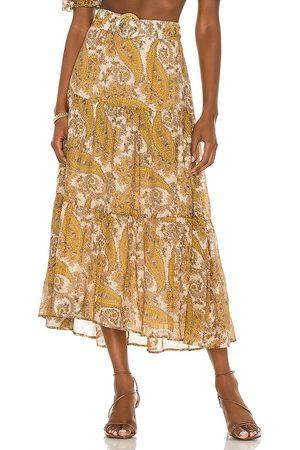 Minkpink Sistan Belted Midi Skirt in Mustard.