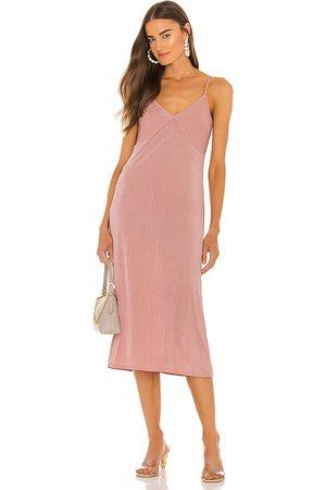 LINE & DOT Jeanie Slinky Midi Slip Dress in Blush.