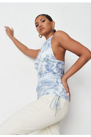Missguided Blue Marble Print Halterneck Ruched Side Cami Top