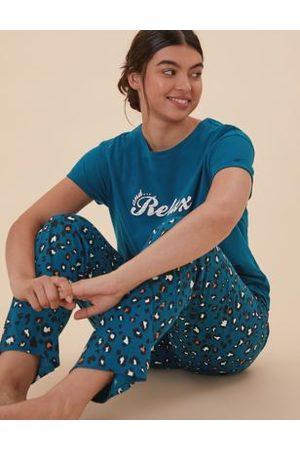Marks & Spencer Cotton Animal Print Pyjama Set