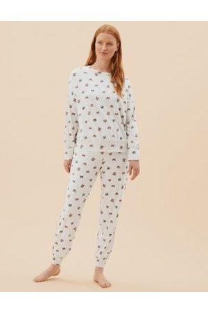 Marks & Spencer Cotton Rich Cat & Dog Print Pyjama Set