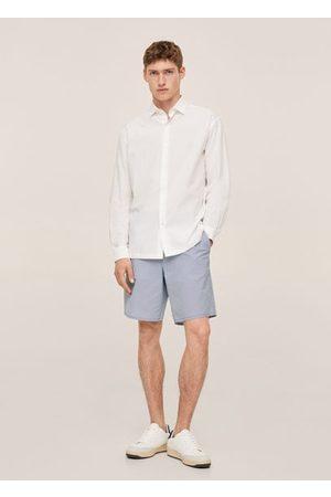 MANGO MAN Striped seersucker shorts