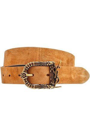 Saint Laurent Women Belts - 3cm Logo Suede Belt