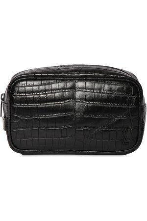 Saint Laurent Ysl Croc Embossesd Leather Cosmetic Bag