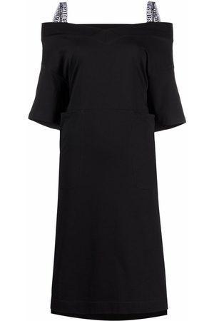Diesel Women Strapless Dresses - Off-the-shoulder Green-label T-shirt dress