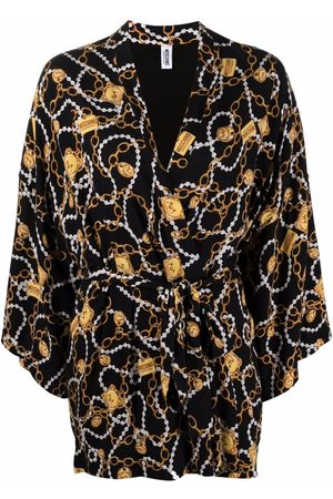 Moschino Women Fleece Jackets - All over teddy chain robe
