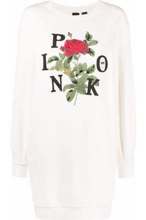 Pinko Women Casual Dresses - Logo-print sweater dress - Neutrals