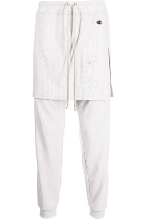 Rick Owens Layered-look jersey track trousers - Grey