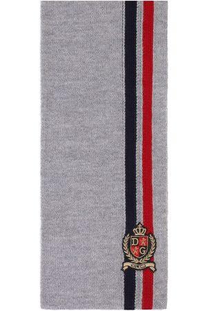 Dolce & Gabbana Embroidered logo wool scarf - Grey