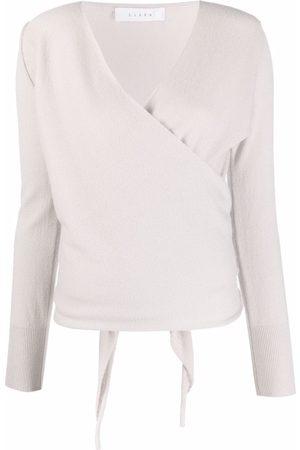 LISKA Knitted wrap top - Grey