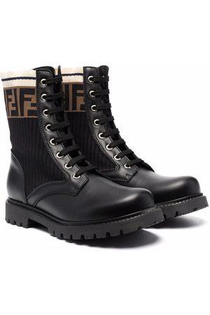 Fendi TEEN FF motif lace-up boots