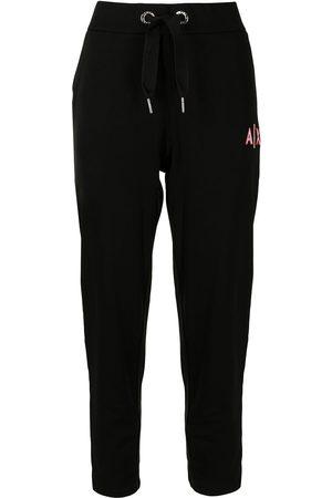 Armani Embroidered-logo drawstring-waist track pants