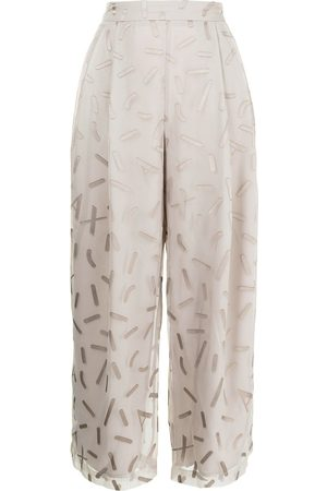 Armani Wide-leg embroidered trousers - Neutrals