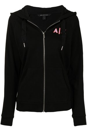 Armani Monogram-print zip-up hoodie