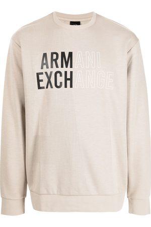 Armani Logo-print long-sleeved T-shirt - Neutrals
