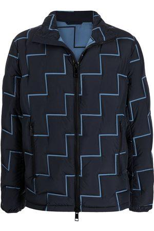 Armani Geometric-print zip-up coat