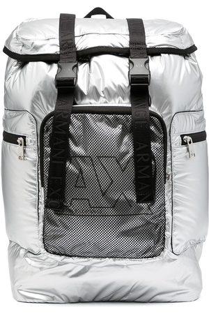 Armani Exchange Metallic-effect buckle-fastening backpack