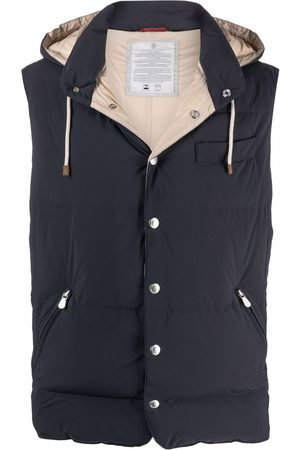 Brunello Cucinelli Men Gilets - Hooded feather-down padded gilet