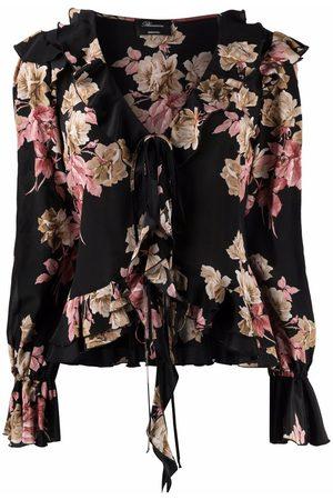 BLUMARINE Floral-print silk blouse